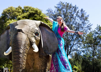 A lady standing next to an elephant at the Community and Kite Festival