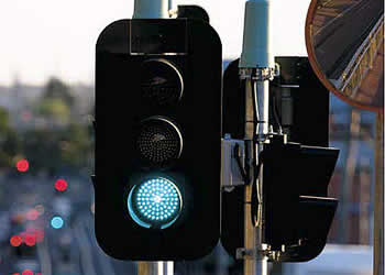 A green light on the traffic lights