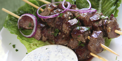 greek kabab, salad and dip