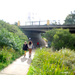 People walking under the Merri Creek bridge