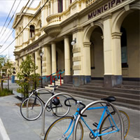 Bikes in front of Northcote Town Hall