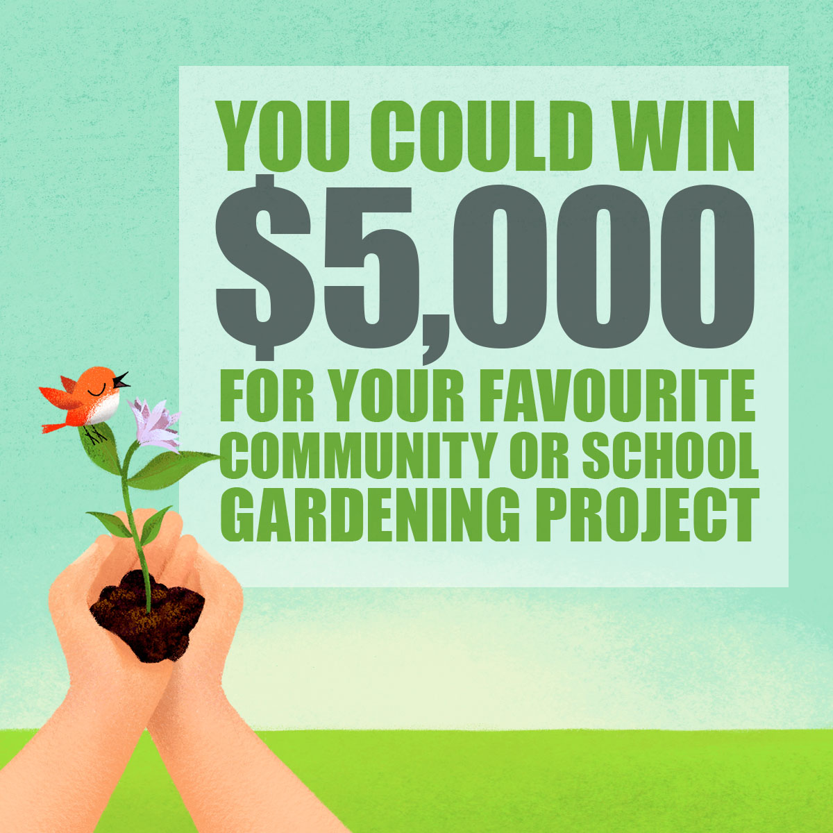 you could win 5k for your favoruite community or school gardening project